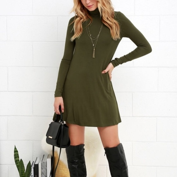 f245e4abe625 Lulu s Dresses   Skirts - Lulu s M Olive Green Turtleneck Swing Dress